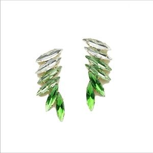 Green/White Luxe Wing Crystals Earrings NWOT